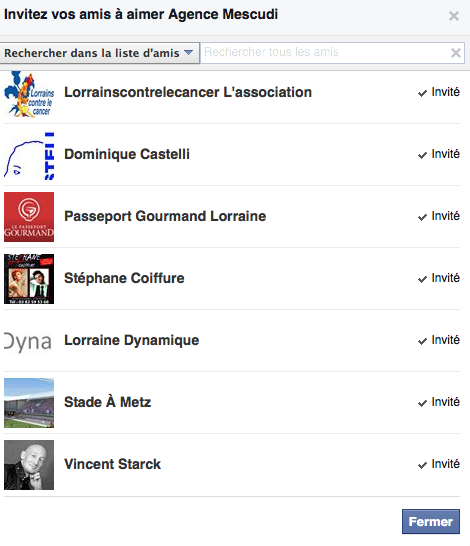 inviter ami Facebook page nouvelle version